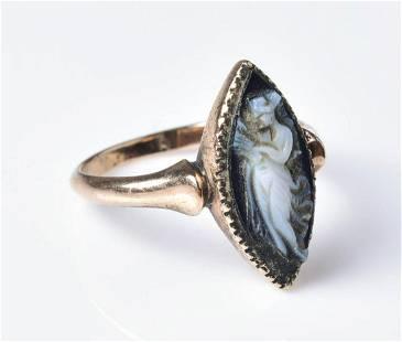 Vintage 10K YG Carved Navette Ring