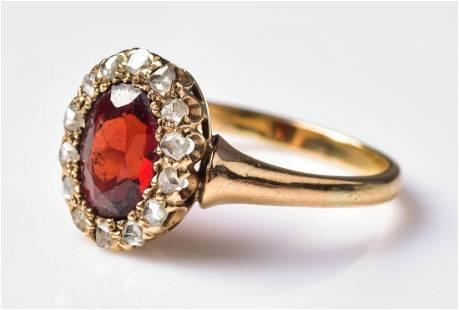 14K YG Victorian Garnet Ring w/Rose Cut Diamonds