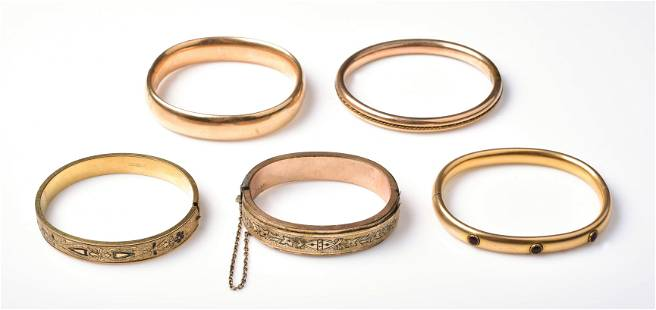 (5) Vintage GF Bangle Bracelets