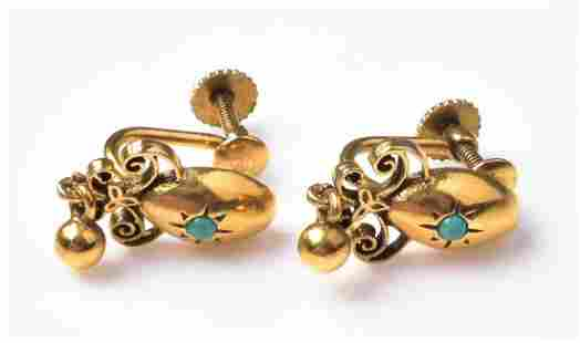 14K YG Persian Turquoise Victorian Earrings