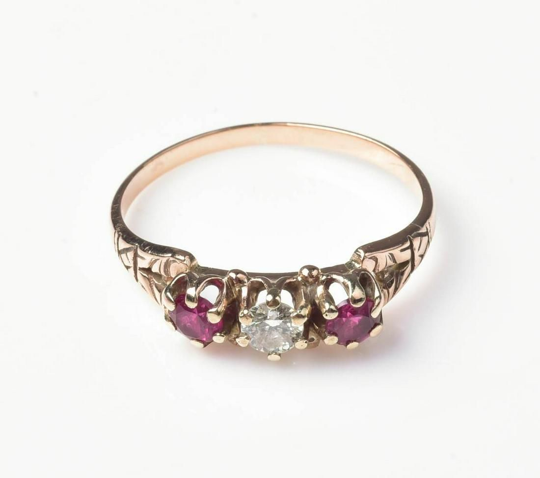 9CT Rose Gold Antique Diamond and Ruby Ring