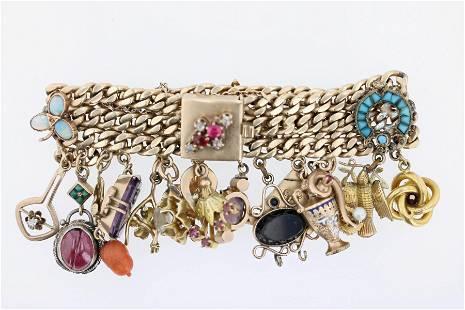 Vintage 14K YG Charm Bracelet