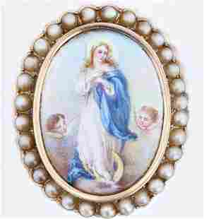 Religious Pearl Brooch
