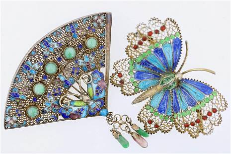 (2) Vintage Enamel Chinese 800 Silver Brooches