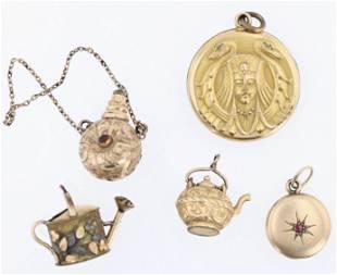 (5) Vintage Gold Filled Charms