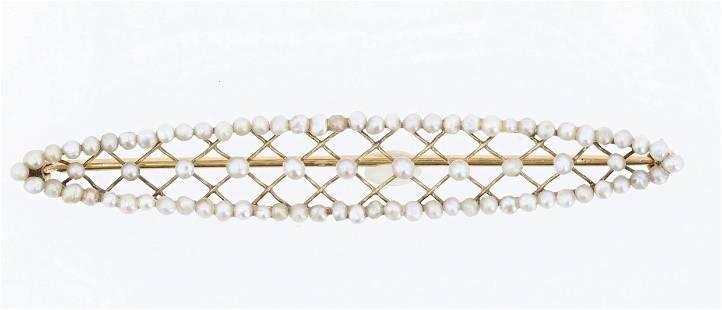 14K YG Seed Pearl Brooch
