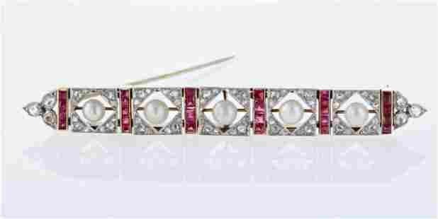 Art Deco Ruby and Diamond Brooch
