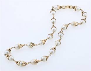 14K YG Pearl Link Necklace