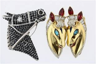 (2) CORO Sterling Silver Horse Brooches
