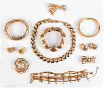 (10) Pc Gold Tone Jewelry Group