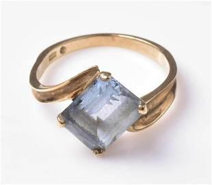 10K YG Blue Topaz Ring