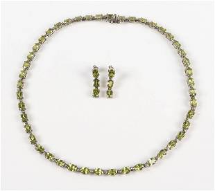 Sterling Peridot Necklace and Earring Set