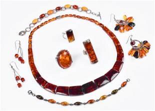 (8) Pc Amber Jewelry Lot