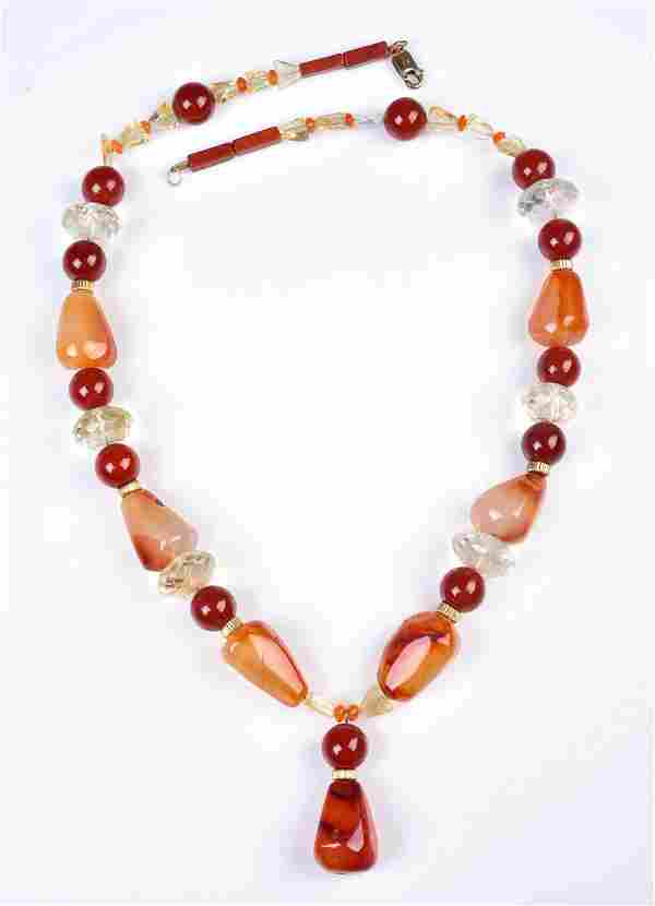 14K GF Citrine, Carnelian, and Agate Necklace