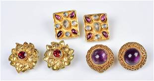 (3) Gold Tone Sterling Silver Clip Earrings