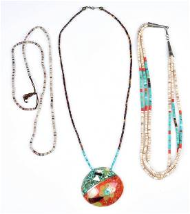 (3) Shell, Coral and Turquoise Bead Necklaces
