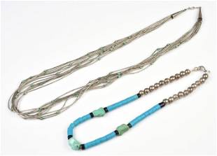 (2) Southwestern Turquoise and Coral Necklaces