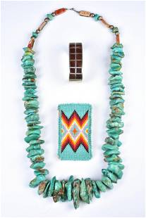 (3) Large Turquoise necklace, cuff and Belt Buckle