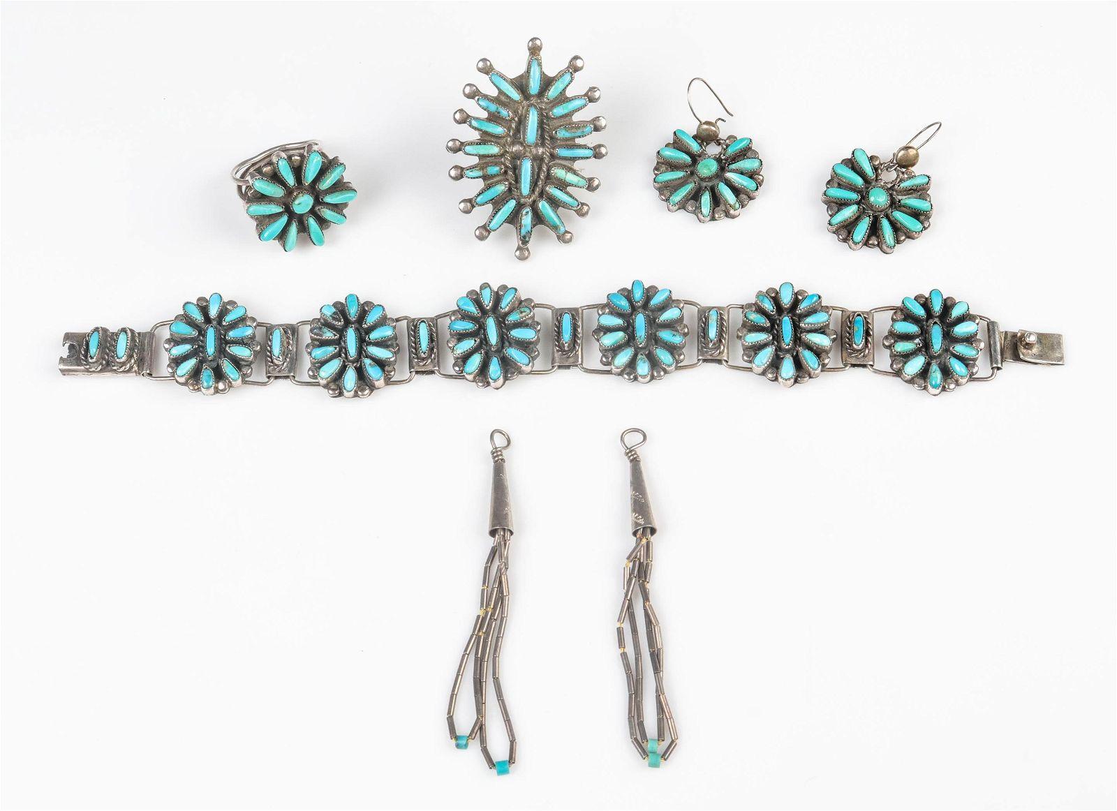 (5) Pc Zuni Needle Point Jewelry