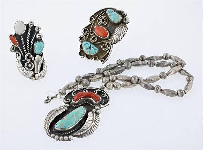 (3) Coral and Turquoise Rings and Matching Necklace
