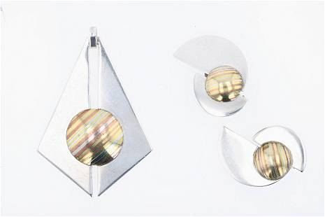 Modernist S. Walker Pendant and Earrings
