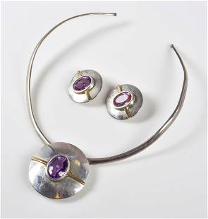 Sterling Silver Amethyst Necklace and Earring Set