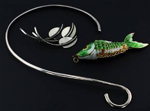 (3) Pc Modernist Collar, Pendant and Brooch