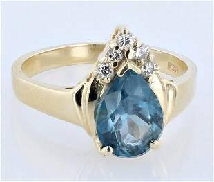 14K YG Blue Topaz Diamond Ring
