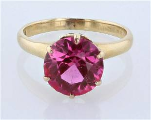 14K YG Vintage 6 Prong Synth. Pink Sapphire Ring