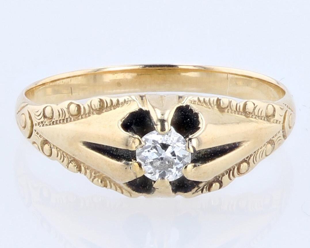 14K YG Art Deco Diamond Ring