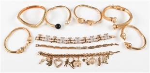 (9) Gold Tone Bracelets