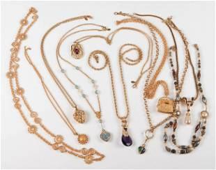 (10) Gold Tone Necklaces
