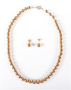 14K YG Gold Bead Necklace and Matching Earrings
