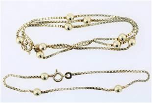 (2) Pc 14K YG Station Box Link Necklace and Bracelet