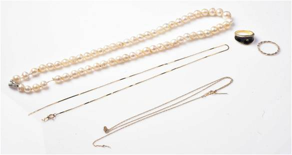 Pearl Necklace, Gold Chains and Gold Ring Lot