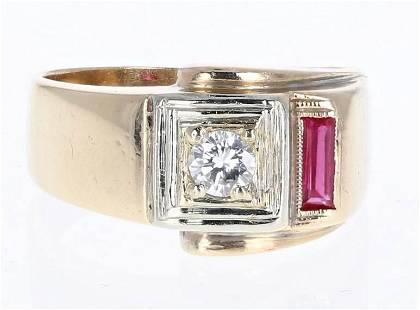 14K YG Men's Diamond and Ruby Ring