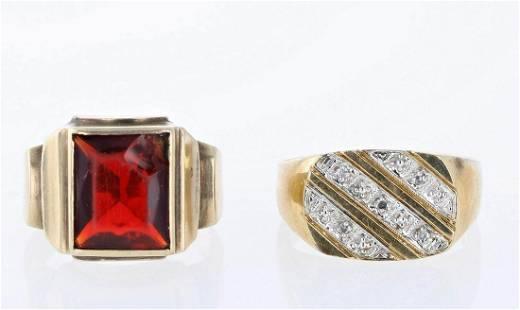 (2) 10K YG Men's Rings