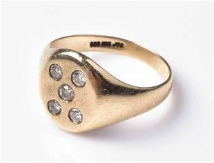 10K YG Diamond Signet Ring