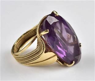 14K YG Alexandrite Ring