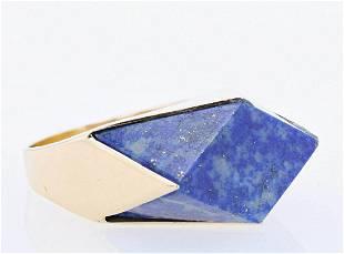 Contemporary Lapis Gemstone Statement Ring