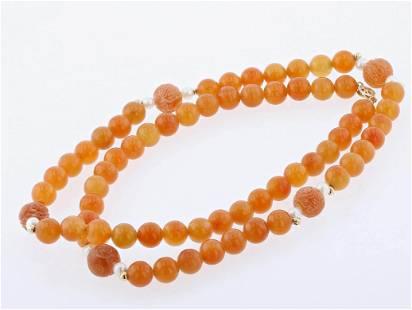 14K Orange Jade Necklace