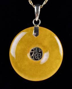 14K YG Yellow Jade Necklace