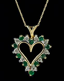 10K YG Emerald and Diamond Accented Necklace