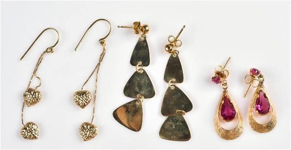 (3) Pairs of 14K YG Drop Earrings