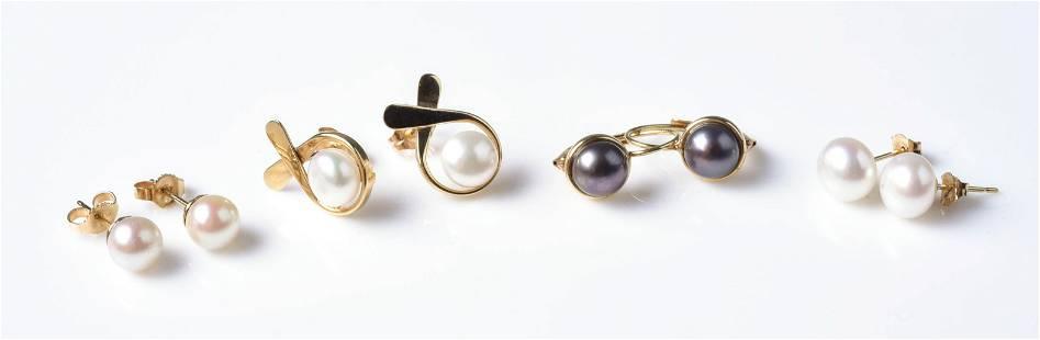(4) Sets of Pearl Earrings 14K YG