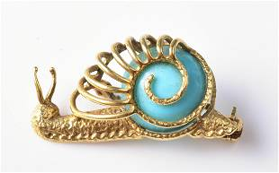 Uno-A-Erre 18K YG Persian Turquoise Snail Brooch