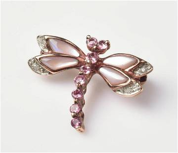 14K Rose Gold Dragon Fly Pin