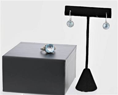(2) Blue Topaz Ring and Earrrings