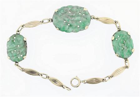 14K YG Jade Bracelet