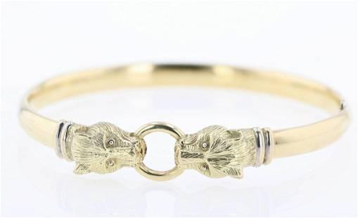 14K YG Panther Bangle Bracelet